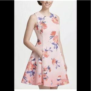DKNY fit & flare mesh dress floral print pink 2 XS